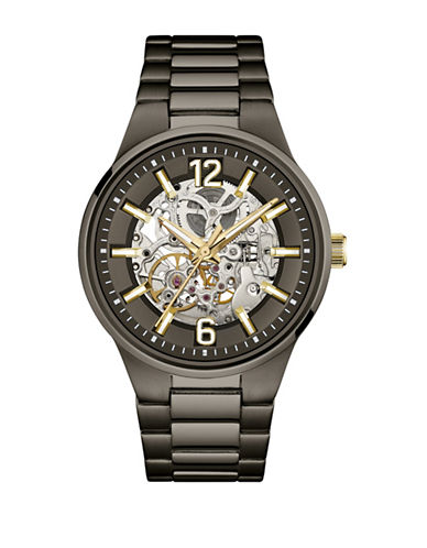 Caravelle New York Automatic Skeleton Gunmetal-Tone Bracelet Watch-BLACK-One Size