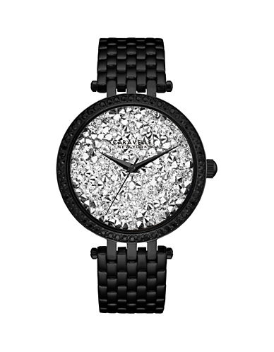 Caravelle New York Analog Black Ion-Plated Mesh Bracelet Watch-BLACK-One Size
