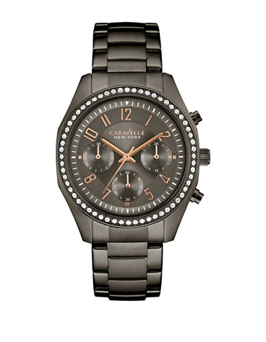 Caravelle New York Chronograph Gunmetal-Tone Bracelet Watch-GUNMETAL-One Size