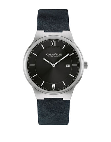 Caravelle New York Analog Classic Stainless Steel Leather Strap Watch-BLUE-One Size