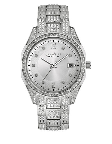 Caravelle New York Analog All Pave Stainless Steel Bracelet Watch-SILVER-One Size