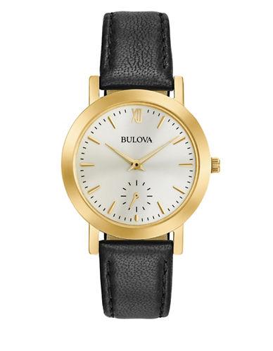 Bulova Analog Goldtone Leather Strap Watch-BLACK-One Size