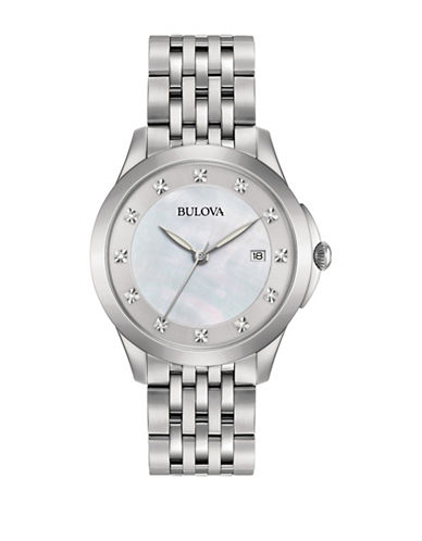 Bulova Analog Diamond Collection Stainless Steel Bracelet Watch-SILVER-One Size