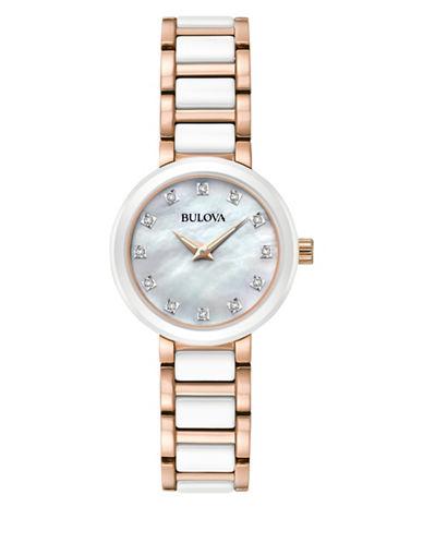 Bulova Analog Diamond Collection Two-Tone Bracelet Watch-WHITE-One Size