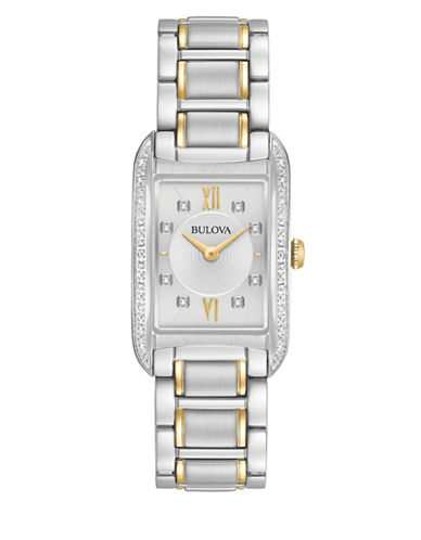 Bulova Analog Diamonds Stainless Steel Bracelet Watch-SILVER-One Size