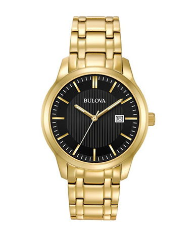 Bulova Analog Striped Dial Goldtone Bracelet Watch-GOLD-One Size