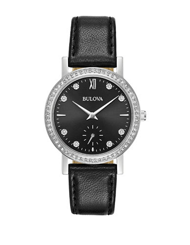 Bulova Analog Pave Stainless Steel Leather Strap Watch-BLACK-One Size