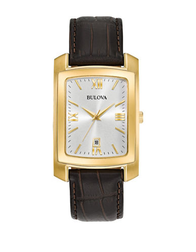 Bulova Analog Rectangle Dial Stainless Steel Leather Strap Watch-GOLD-One Size