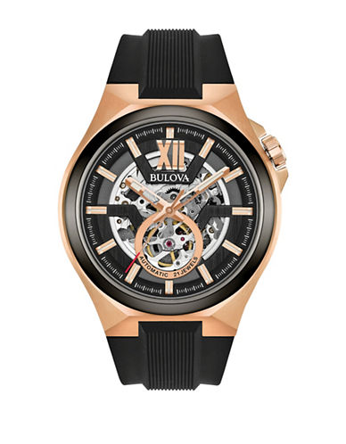 Bulova Analog Open Dial Silicone Strap Watch-ROSE GOLD-One Size