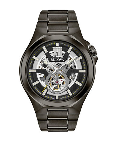 Bulova Analog  Open Dial Stainless Steel Watch-BLACK-One Size