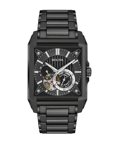 Bulova Automatic Mechanical Black IP Bracelet Strap Watch-BLACK-One Size