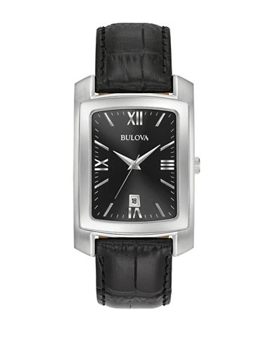 Bulova Analog Rectangle Leather Strap Watch-SILVER-One Size