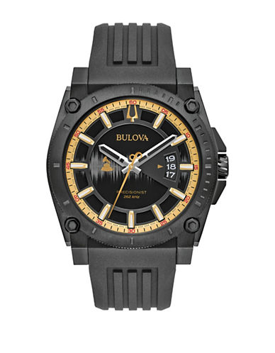 Bulova Analog Precisionist Silicone Watch-BLACK-One Size