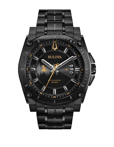 Bulova Analog Precisionist IP Bracelet Watch-BLACK-One Size