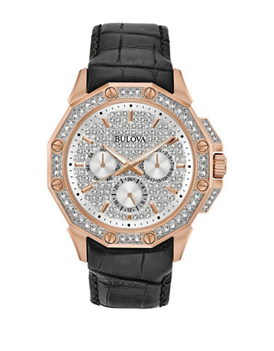 Bulova Analog Pave Stainless Steel Leather Strap Watch-ROSE GOLD-One Size