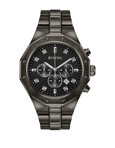 Bulova Chronograph Diamond 0.04TCW Black IP Bracelet Watch-BLACK-One Size