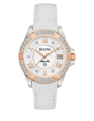 Bulova Analog Rose-Goldtone Leather Strap Watch with 0.025 TCW Diamonds-ROSE GOLD-One Size