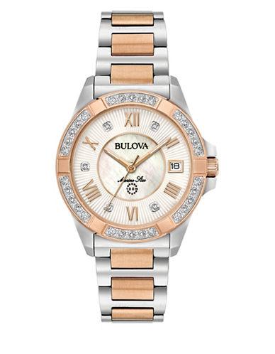 Bulova Analog Two-Tone Bracelet Watch with 0.025 TCW Diamonds-TWO-TONE-One Size