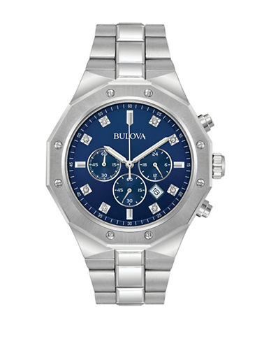 Bulova Chronograph Diamond 0.04TCW Stainless Steel Bracelet Watch-SILVER-One Size