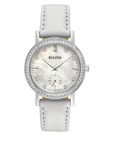 Bulova Analog Swarovski Crystal Pave Bezel Leather Strap Watch-WHITE-One Size