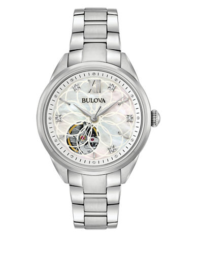 Bulova Analog Open Dial Stainless Steel Bracelet Watch with 0.05 taw Diamonds-WHITE-One Size