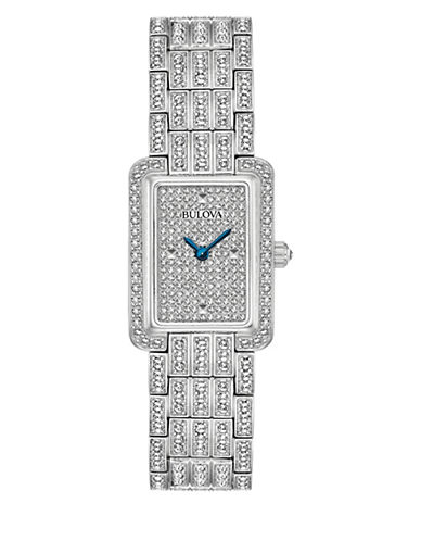 Bulova Analog Rectangle Pave Dial Stainless Steel Bracelet Watch-SILVER-One Size