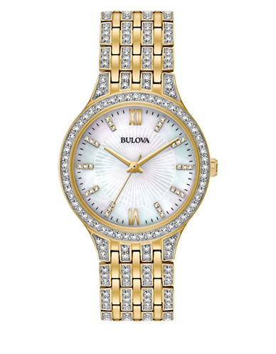 Bulova Analog Pave Stainless Steel Bracelet Watch-GOLD-One Size