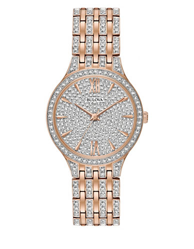 Bulova Analog Pave Rose-goldtone Bracelet Watch-ROSE GOLD-One Size