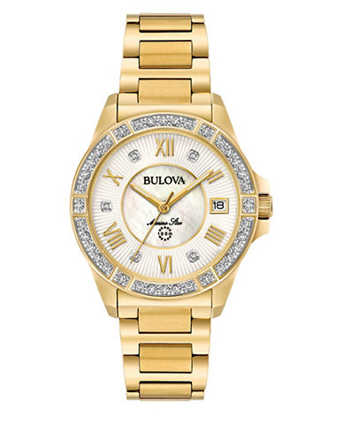 Bulova Analog Goldtone Bracelet Watch with 0.025 TCW Diamonds-GOLD-One Size