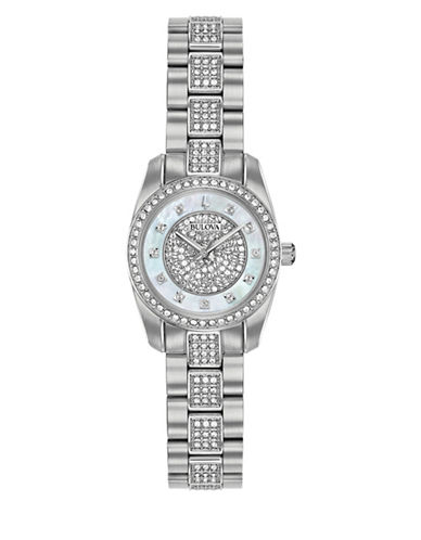 Bulova Crystal Collection Swarovski Crystal Stainless Steel Bracelet Watch-WHITE-One Size