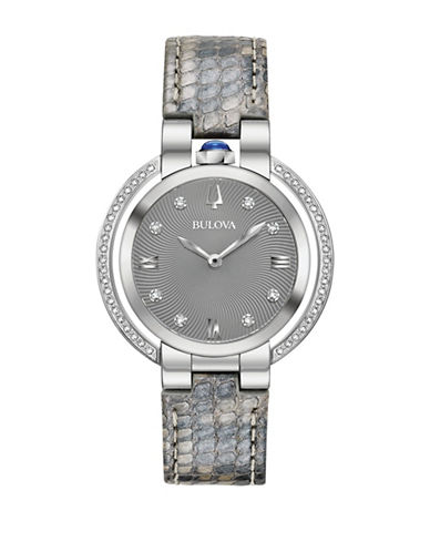 Bulova Rubaiyat Collection Stainless Steel Leather Strap Watch-WHITE-One Size
