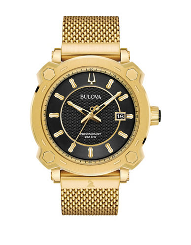 Bulova Precisionist Collection Goldtone Stainless Steel Mesh Bracelet Watch-GOLD-One Size