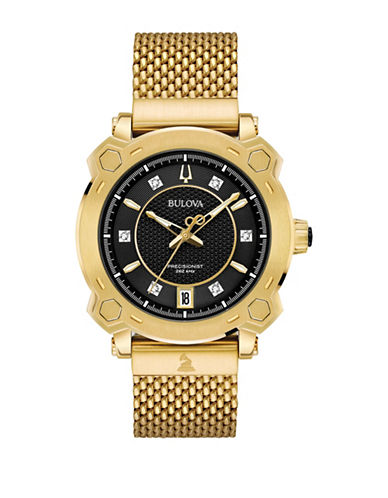 Bulova Precisionist Collection Diamond Goldtone Stainless Steel Mesh Bracelet Watch-GOLD-One Size