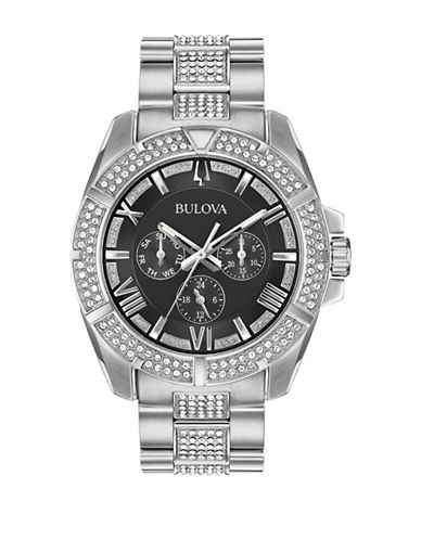 Bulova Multi-Function Swarovski Crystal Collection Mens Stainless Steel Bracelet Watch-WHITE-One Size