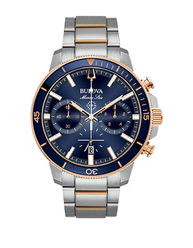 Bulova Marine Star Collection Chronograph Rose Goldtone Bracelet Watch-WHITE-One Size