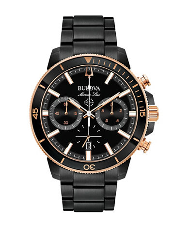 Bulova Marine Star Collection Chronograph Black Stainless Steel Link Bracelet Watch-BLACK-One Size