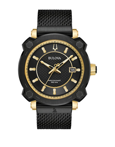 Bulova Precisionist Collection Black Stainless Steel Mesh Bracelet Watch-BLACK-One Size