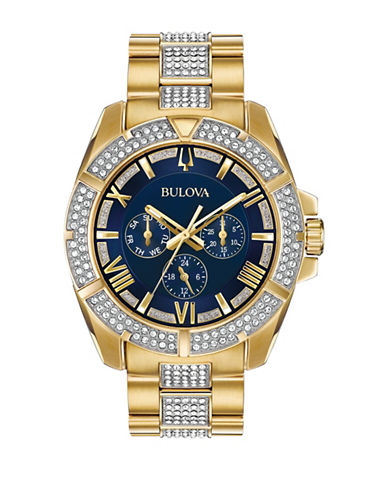 Bulova Multi-Function Swarovski Crystal Collection Mens Stainless Steel Bracelet Watch-GOLD-One Size