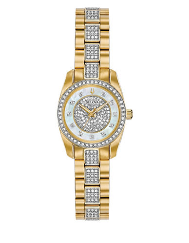 Bulova Crystal Collection Swarovski Crystal Goldtone Stainless Steel Bracelet Watch-GOLD-One Size
