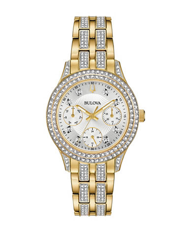Bulova Multi-Function Crystal Collection Goldtone Stainless Steel Bracelet Watch-GOLD-One Size