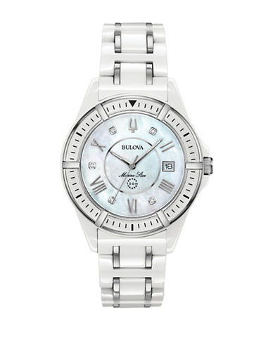 Bulova Marine Star Collection Ceramic Stainless Steel Link Bracelet Watch-WHITE-One Size