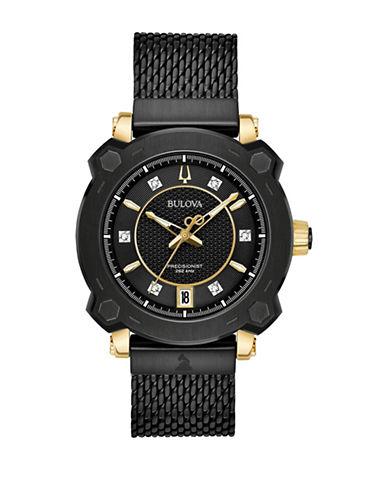 Bulova Grammy Collection Black Stainless Steel Mesh Bracelet Watch-BLACK-One Size