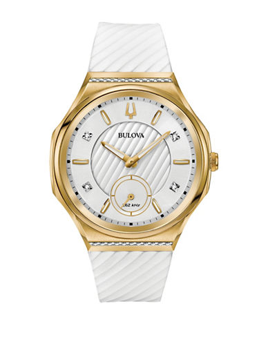 Bulova Curv Collection Goldtone Stainless Steel Rubber Strap Watch-GOLD-One Size