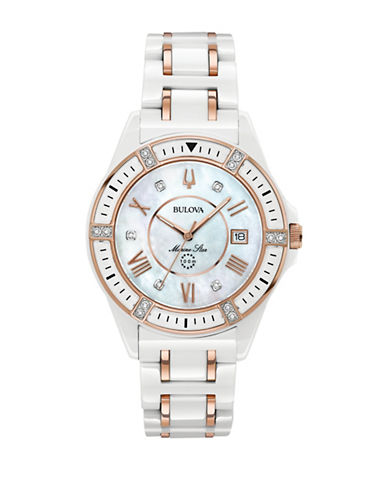 Bulova Marine Star Collection Ceramic Link Bracelet Watch-WHITE-One Size