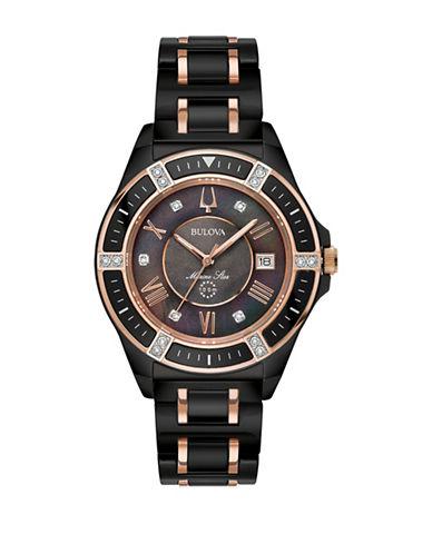 Bulova Marine Star Collection Diamond Black Stainless Steel Bracelet Watch-MULTI-One Size