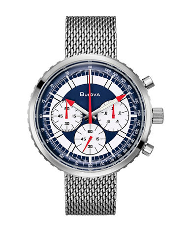 Bulova Archive Series Special Addition Chronograph C Stainless Steel Mesh Bracelet Watch-WHITE-One Size