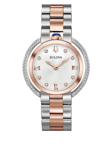 Bulova Rubaiyat Collection Diamond Two-Tone Stainless Steel Link Bracelet Watch-MULTI-One Size