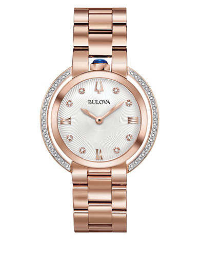 Bulova Rubaiyat Collection Diamond Rose Goldtone Stainless Steel Link Bracelet Watch-ROSE GOLD-One Size