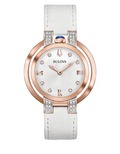 Bulova Rubaiyat Collection Diamond Rose Goldtone Leather Strap Watch-ROSE GOLD-One Size