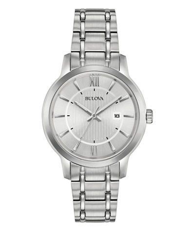 Bulova Classic Silvertone Bracelet Analog Watch-WHITE-One Size